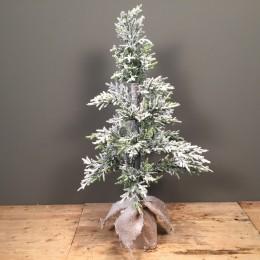 Μικρό Χριστουγεννιάτικο Δέντρο Slim Χιονισμένο Plastic Φύλλωμα Βάση Τσουβάλι 110εκ
