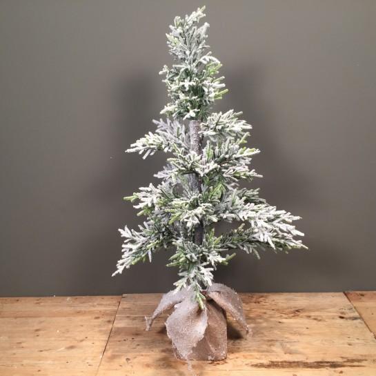Χριστουγεννιάτικο Δέντρο Slim Plastic Χιονισμένο Βάση Τσουβάλι 110εκ