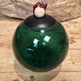 Χριστουγεννιάτικη Μπάλα Γυάλινη Διάφανη Πράσινη Καρώ Κορδέλα 12εκ