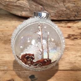 Χριστουγεννιάτικη Μπάλα Γυάλινη Διάφανη Παγωμένη Σκιουράκια 8εκ