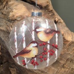 Χριστουγεννιάτικο Στολίδι Γυάλινο Πλακέ Πουλιά Κλαδιά Γκι 12εκ Χ