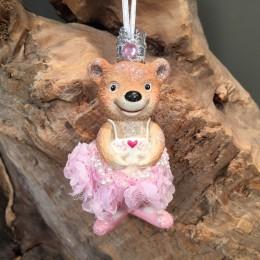 Χριστουγεννιάτικo Στολίδι Κεραμικό Αρκουδάκι Ροζ Λεπτομέρεια 10εκ