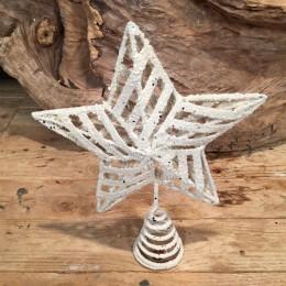 Χριστουγεννιάτικη Κορυφή Δέντρου Αστέρι Λευκή Κορδέλα Γκλίτερ 20*26εκ Χ