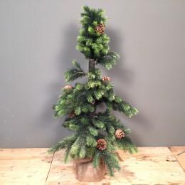 Μικρό Χριστουγεννιάτικο Δέντρο Slim Plastic Φύλλωμα Βάση Τσουβάλι 140εκ