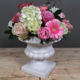 Λευκό Vintage Κεραμικό Κασπώ Ροζ Λευκά Λιλά Λουλούδια