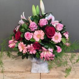 Σύνθεση Κεραμικό Κασπώ Κόκκινα Ροζ Λουλούδια