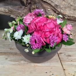 Σύνθεση Κεραμικό Γκρι Κασπώ Ροζ Λιλά Λευκά Λουλούδια