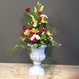 Vintage Κεραμικό Κασπώ Με Διάφορα Λουλούδια