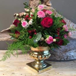 Vintage Χρυσό Κεραμικό Κασπώ Κόκκινα & Ροζ Τριαντάφυλλα