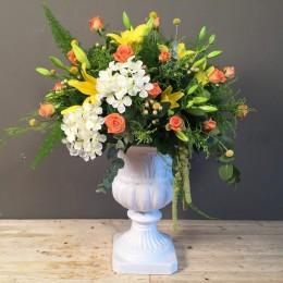 Vintage Κεραμικό Κασπώ Με Κίτρινα Πορτοκαλί Λουλούδια