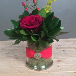 Σύνθεση Γυάλα Κύλινδρος Κόκκινα Τριαντάφυλλα