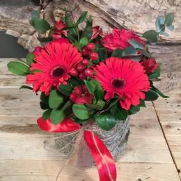 Τετράγωνη Γυάλα Ύφασμα Κόκκινα Λουλούδια