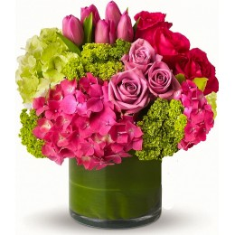 Σύνθεση Γυάλα Κυλινδρική Ορτανσίες Τριαντάφυλλα Τουλίπες