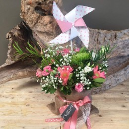 Πουγκί Από Τσουβάλι Με Λουλούδια Και Πουά Ανεμόμυλο