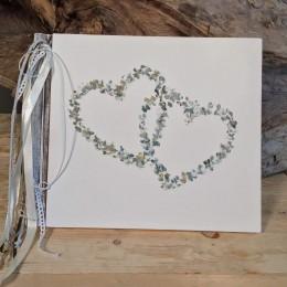 Χειροποίητο Ξύλινο Δερματόδετο Βιβλίο Ευχών Γάμου Καρδιές