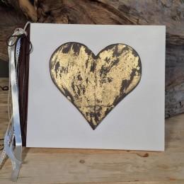 Χειροποίητο Ξύλινο Δερματόδετο Βιβλίο Ευχών Χρυσή Καρδιά