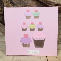 Ροζ Βιβλίο Ευχών Cupcakes 23*21