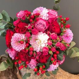 Νυφική Ανθοδέσμη Γάμου Ροζ Ντάλιες Τριαντάφυλλα Υπέρικουμ
