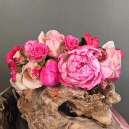 Αξεσουάρ Μαλλιών Νύφης Στεφάνι Τριαντάφυλλα Παιώνιες