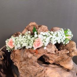 Αξεσουάρ Μαλλιών Νύφης Στεφανάκι Γυψοφύλλη Τριαντάφυλλα