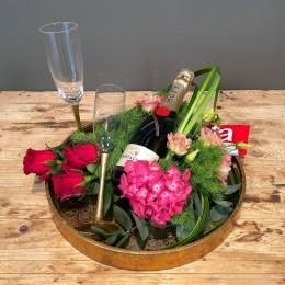 Επαγγελματικό Δώρο Δίσκος Χρυσός Σύνθεση Λουλούδια Σαμπάνια Ποτήρια Σοκολάτα