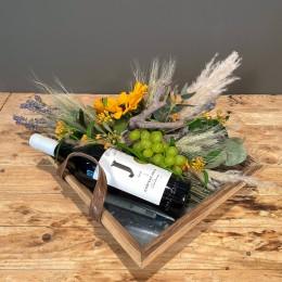 Επαγγελματικό Δώρο Δίσκος Ξύλινος Σύνθεση Λουλούδια Λευκό Κρασί