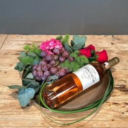 Επαγγελματικό Δώρο Δίσκος Μεταλλικός Σύνθεση Λουλούδια Ροζέ Κρασί