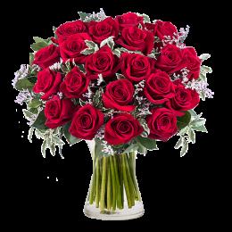 Μπουκέτο Τριαντάφυλλα Κόκκινα 21τμχ Λεπτομέρια Πρασινάδα