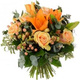 Ανθοδέσμη Πορτοκαλί Τριαντάφυλλα Αλστρομέριες Υπέρικουμ Λίλιουμ
