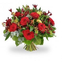 Ανθοδέσμη Λουλούδια Κόκκινα Τριαντάφυλλα Ανιγκόζανθος Αλστρομέρια