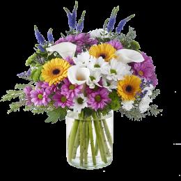 Ανθοδέσμη Λουλούδια Χρυσάνθεμα Ζέρμπερες Κάλλες Βερόνικες Πρασινάδα