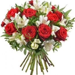 Μπουκέτο Λουλούδια Κόκκινα Τριαντάφυλλα Λευκή Αλστρομέρια