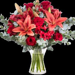 Μπουκέτο Κόκκινα Τριντάφυλλα Αλστρομέρια Λίλιουμ Ευκάλυπτος