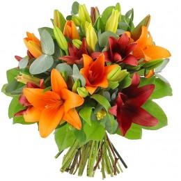 Μπουκέτο Λουλούδια Κόκκινα & Πορτοκαλί Λίλιουμ