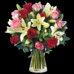 Ανθοδέσμη Λουλούδια Τριαντάφυλλα & Λίλιουμ Πρασινάδα