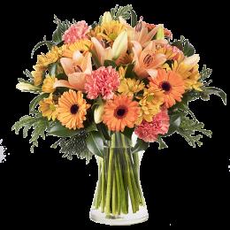Ανθοδέσμη Λουλούδια Ζέρμπερες Χρυσάνθεμα Λίλιουμ Γαρύφαλλα Πρασινάδα