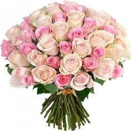 Μπουκέτο 50 Ροζ & Pastel Τριντάφυλλα