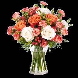 Ανθοδέσμη Λουλούδια Τριαντάφυλλα Υπέρικουμ Γαρύφαλλα Σολιντάγκο Πρασινάδα