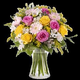 Ανθοδέσμη Λουλούδια Τριαντάφυλλα Αλστρομέριες Σολιντάγκο Ζέρμπερες Πρασινάδα