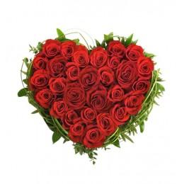 Καρδιά 30 Κόκκινα Τριαντάφυλλα Πρασινάδα Περιμετρικά