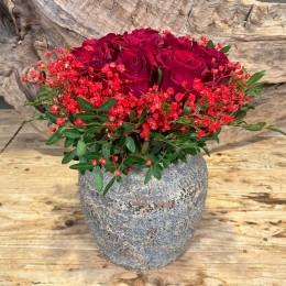 Μπουκέτο Τριαντάφυλλα Κασπώ Διακοσμητικό Κεραμικό Καφέ-Μόκα 19εκ