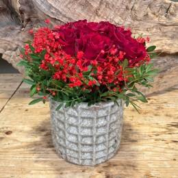 Μπουκέτο Τριαντάφυλλα Κασπώ Διακοσμητικό Κεραμικό Λευκό Τετραγωνάκια 18*17εκ