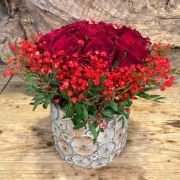 Μπουκέτο Τριαντάφυλλα Κασπώ Διακοσμητικό Κεραμικό Σχέδιο Λουλουδάκια 17*16εκ
