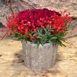 Μπουκέτο Τριαντάφυλλα Κασπώ Διακοσμητικό Κεραμικό Γήινες Αποχρώσεις 17*16εκ