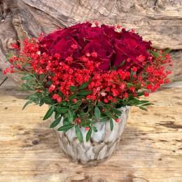 Μπουκέτο Τριαντάφυλλα Κασπώ Διακοσμητικό Κεραμικό Ιβουάρ Νερά Γήινες Αποχρώσεις 17*15εκ