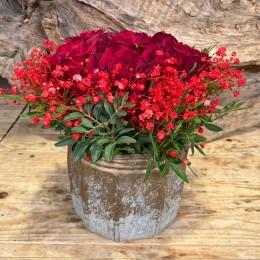 Μπουκέτο Τριαντάφυλλα Κασπώ Διακοσμητικό Κεραμικό Γκρι Χρυσό 17*16εκ