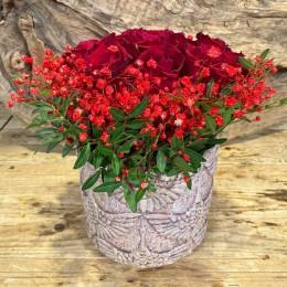 Μπουκέτο Τριαντάφυλλα Κασπώ Διακοσμητικό Κεραμικό Ροζ Σχέδιο Γερανός 17*16εκ Χ