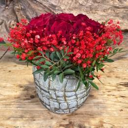 Μπουκέτο Τριαντάφυλλα Κασπώ Διακοσμητικό Κεραμικό Λευκό Μόκα Νερά 17*16εκ