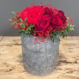 Μπουκέτο Λουλούδια Κασπώ Διακοσμητικό Κεραμικό Γκρι 22*25εκ