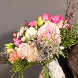 Νυφική Ανθοδέσμη Γάμου Ορτανσία Παιώνια Τριαντάφυλλο Υπέρικουμ Λυσίανθο Σαφάρι
